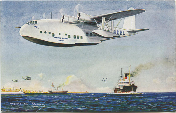 J. SALMON LTD Canopus making for Alexandria. The New Imperial Airways Flying Boat for Empire Mail.