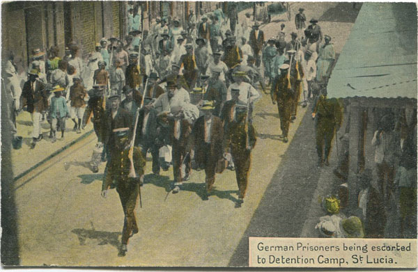 CLARKE & CO German Prisoners being escorted to Detention Camp, St Lucia.