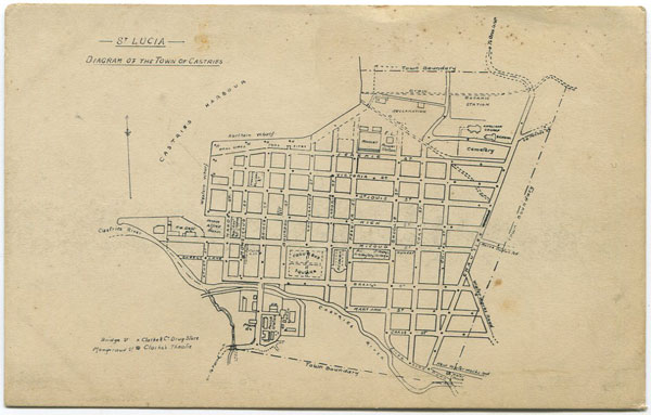 CLARKE & CO St Lucia. Diagram of the town of Castries