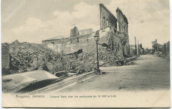 N. RICHARDS Kingston, Jamaica. Colonial Bank after the earthquake Jan 14 1907 at 3.30