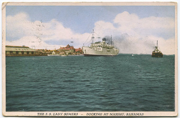 SANDS STUDIO The S.S. Lady Somers, Docking at Nassau, Bahamas. - No 38  15/5000