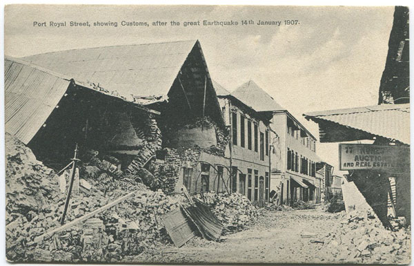 A. DUPERLY & SONS Port Royal Street, showing Customs, after the great Earthquake 14th January 1907