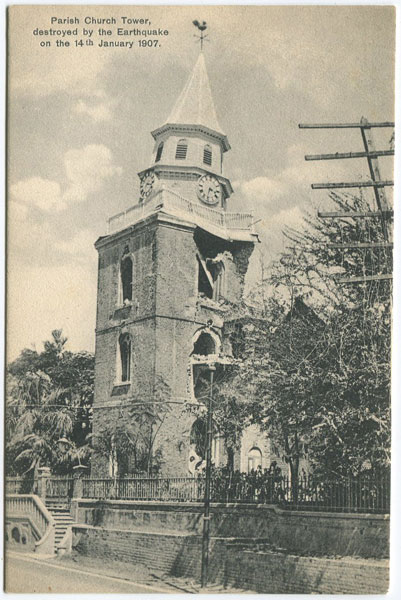 A. DUPERLY & SONS Parish Church Tower destroyed by the Earthquake on the 14th January 1907