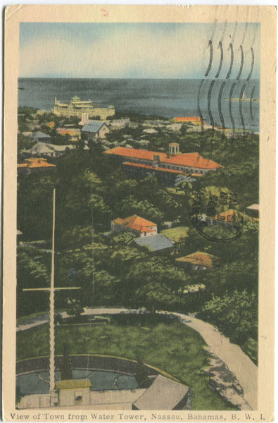 PECO View of Town from Water Tower, Nassau, Bahamas, B.W.I.