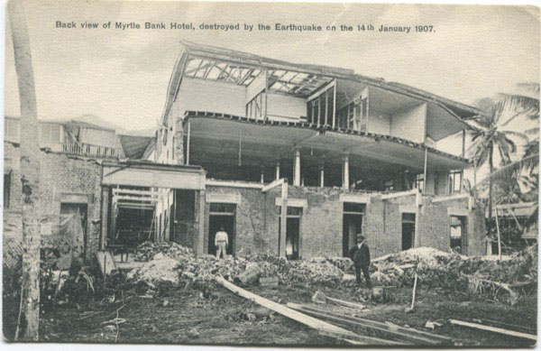 A. DUPERLY & SONS Back view of Myrtle Bank Hotel, destroyed by the Earthquake on the 14th January 1907