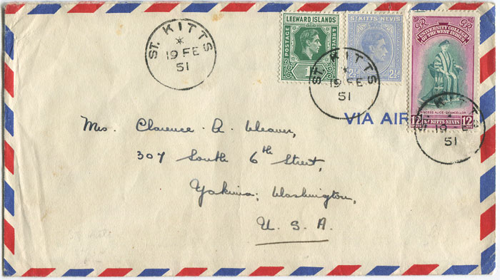 1951 airmail cover from St Kitts to U.S.A.
