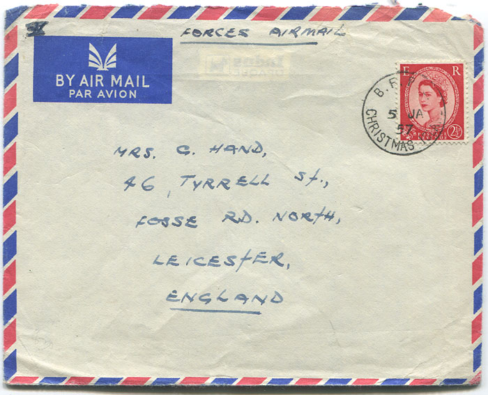 1957 Forces Airmail cover from Christmas Island to England