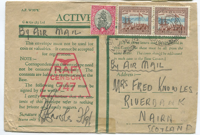 1942 printed ACTIVE SERVICE envelope with unusual comination franking of New Zealand 5d pair and South Africa 1d tied by FIELD POST OFFICE 191 cds