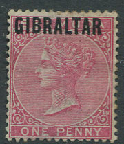 1886 Gibraltar 1d stamp (SG2) unused, part o.g.