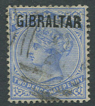 1886 Gibraltar 2½d (SG4)with forged overprint on genuine Bermuda stamp and Bermuda pmk.