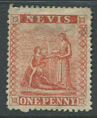 1866-76 Nevis perf 15, 1d deep red (SG10), position 3, fresh, small part o.g., small thin.
