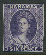 1863-7 Bahamas Crown CC, 6d violet imperf plate proof,
