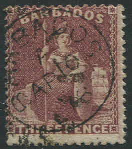 1873 Barbados Small star s/ways, perf 14, 3d brown purple (SG63),