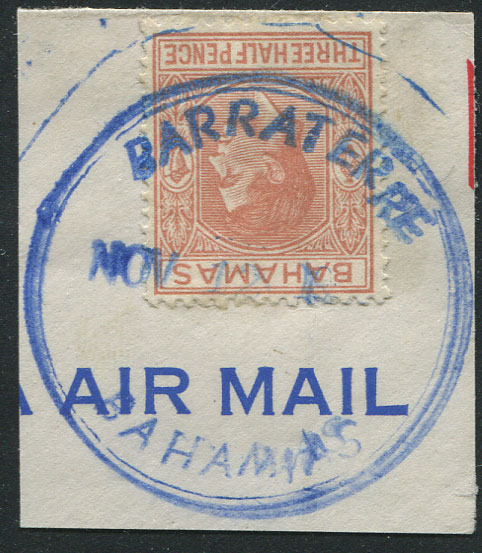 1953 BARRATERRE BAHAMAS T.R.D. in blue on piece with GVI 1½d. Fine.