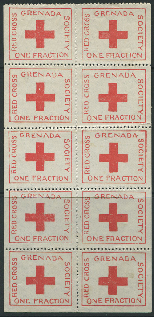 1914 Grenada Red Cross ¼d charity label in complete sheet of 10, fine unused.