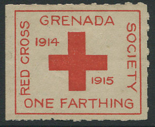 1915 Grenada Red Cross ¼d charity label, unused.
