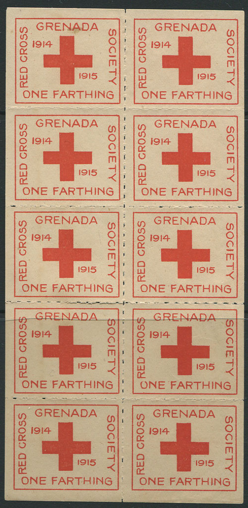 1915 Grenada Red Cross ¼d charity label, complete sheet of 10, unused.
