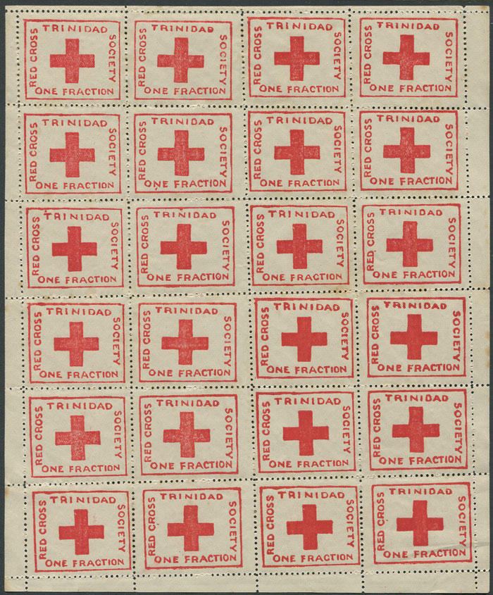 1914 Trinidad Red Cross ¼d charity label, (SG157), complete sheet of 24, fine mint.