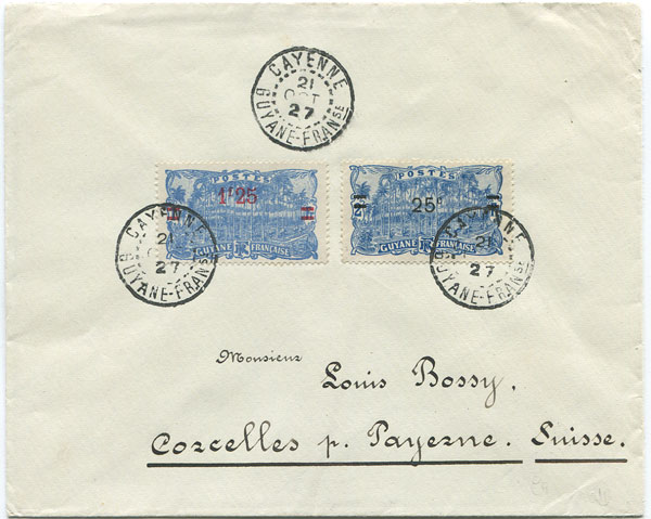 1927 cover from French Guiana to Switzerland