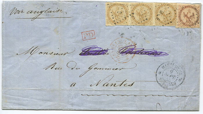 1865 cover from Martinique to France