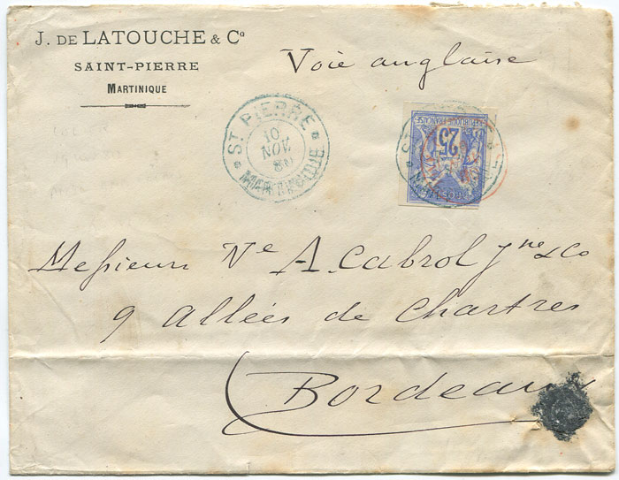 1880 cover from Martinique to France
