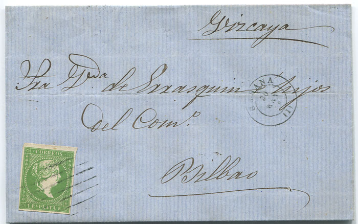 1862 (30 May) cover from Havana to Bilbao
