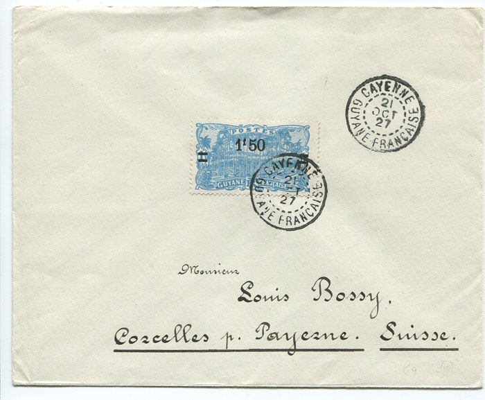1927 registered cover from French Guiana to Switzerland
