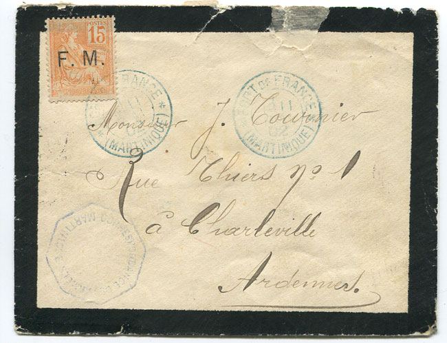 1902 (11 May) mourning cover from Martinique to France