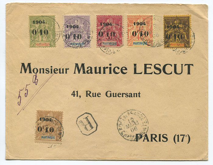 1906 reg. cover from Martinique to France