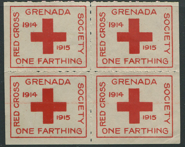 1915 Grenada Red Cross ¼d charity label, block of 4, unused.