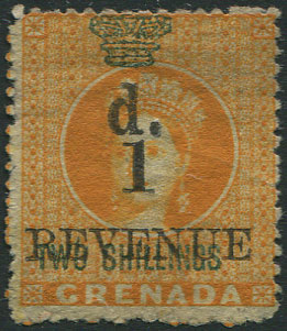 1884 Grenada revenue 1d on 2/- (Barefoot 24), fresh unused.