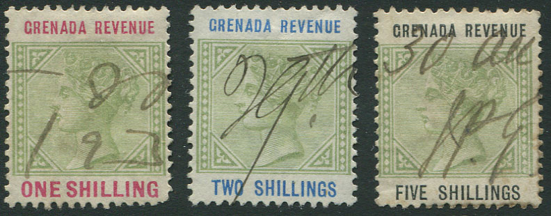 1884 Grenada revenues set to 5/- (Barefoot 25-33).