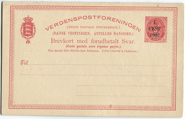 1902 Danish West Indies Postal Stationery 1c on 3c postal reply card