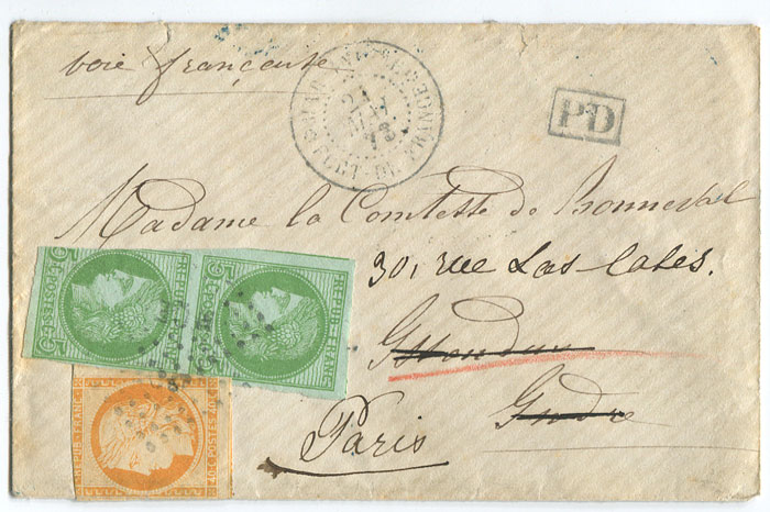 1873 (21 May) cover from Martinique to France
