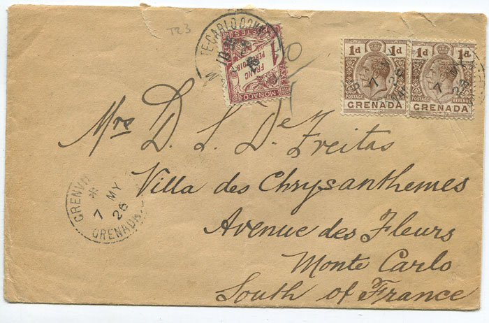 1926 (7 May) cover from Grenada to Monaco