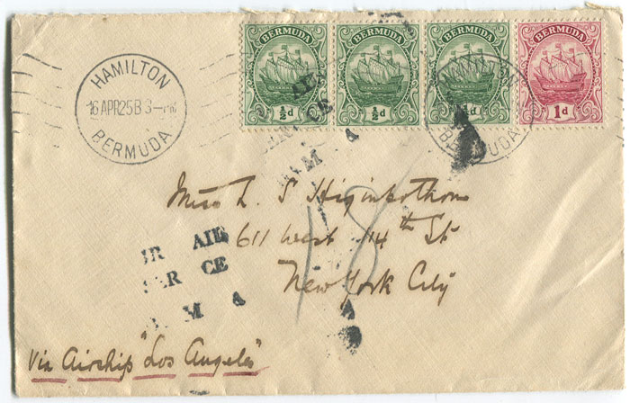 1925 (16 Apr) Zeppelin cover from Bermuda to New York