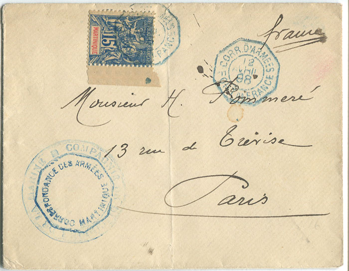1888 (12 Apr) envelope from Martinique to Paris