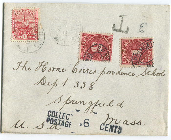 1912 (31 Dec) cover from Grenada to U.S.A.