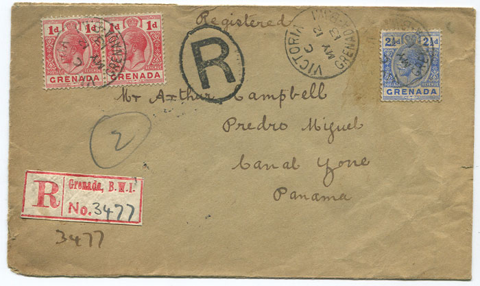1913  registered cover from Grenada to Panama