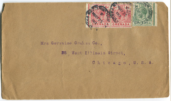 1913 cover from Grenada to U.S.A.