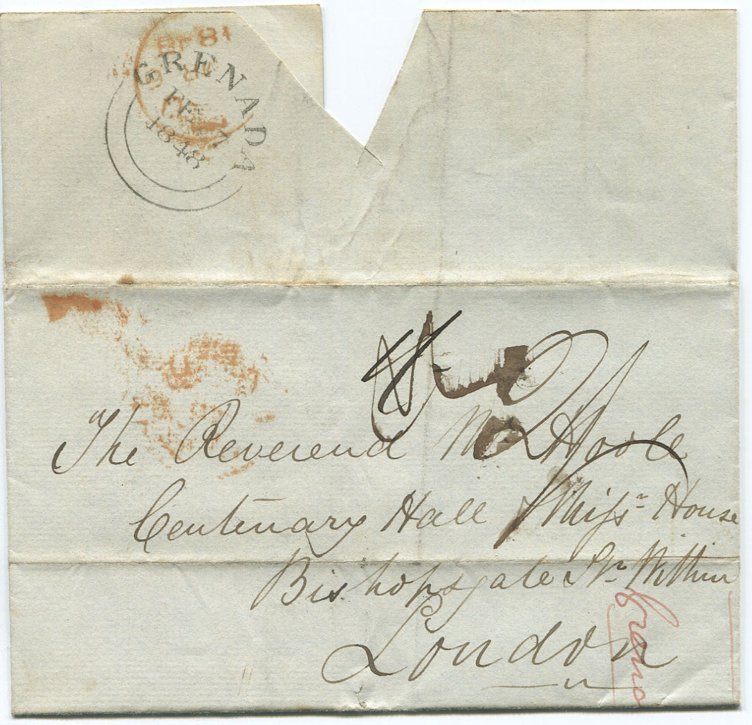 1848 (7 Feb) cover from Grenada to England