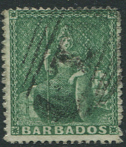 1861 Clean cut perf 14-16, ½d deep green (SG17),