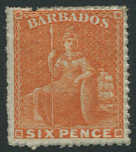1861-70 rough perf 14-16, 6d orange(SG33),