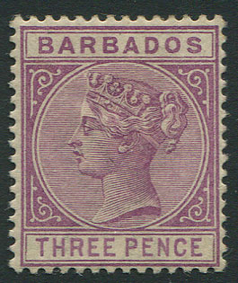 1882-6 Crown CA, Barbados 3d deep purple (SG95),