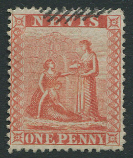 1866-76 perf 15, 1d pale red (SG9),