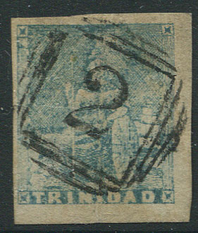 1852-60 Trinidad litho, 2nd issue (1d) pale blue (SG15),