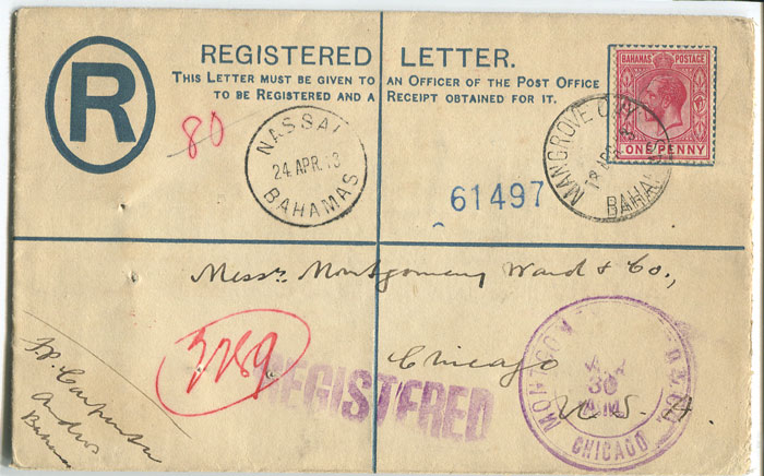 1913 Bahamas postal stationery 2d registered envelope, size G, used to U.S.A.