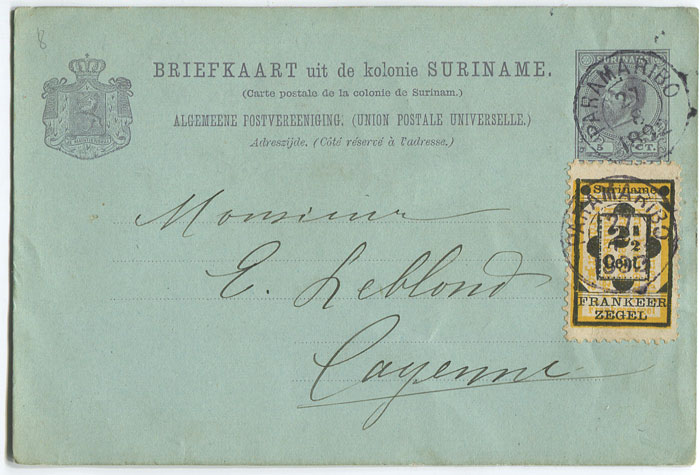 1892 Suriname 5c postal stationery postal card used to Cayenne