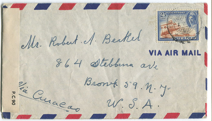 1944 (7 Feb) airmail cover from Curacao to U.S.A.