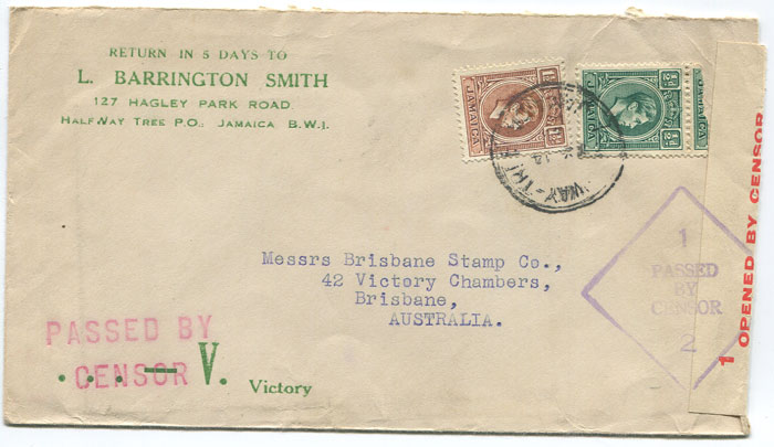 1942 (?) cover from Jamaica to Australia